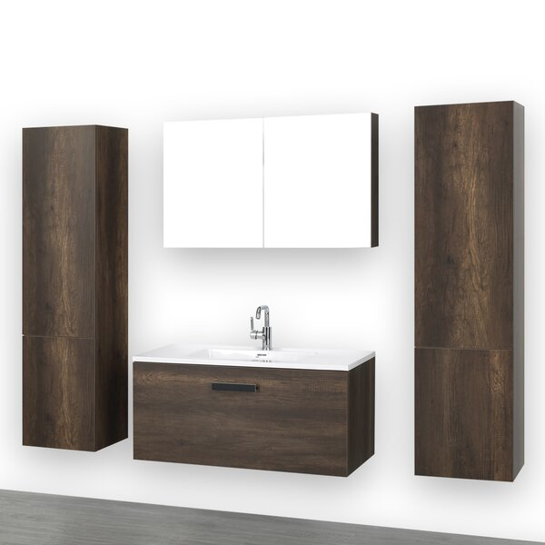 40 Wall-Mounted Single Bathroom Vanity Set with Mirror