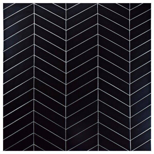 Retro Soho Chevron 1.75 x 7 Porcelain Field Tile in Black by EliteTile