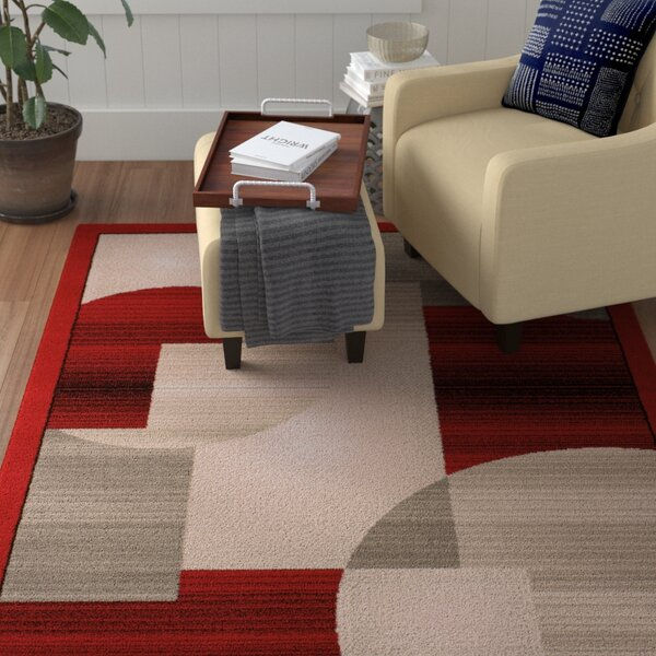 Jerome Red/Gray Area Rug by Winston Porter