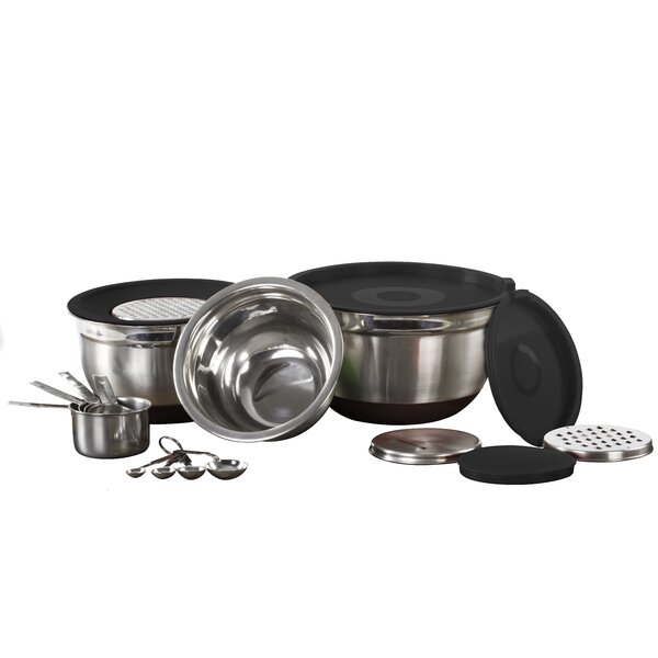17 Piece Stainless Steel Mixing Bowl Set by Imperial Home