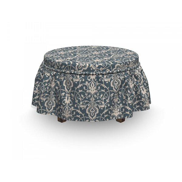 Damask Leaves And Buds 2 Piece Box Cushion Ottoman Slipcover Set By East Urban Home