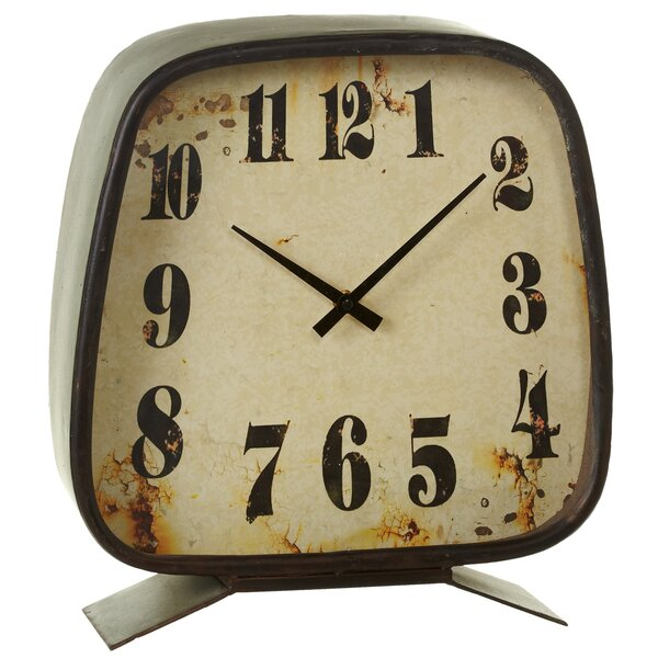 Galvanized Square Oversized Mantel Clock by August Grove