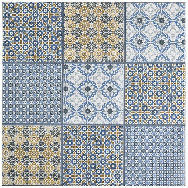 Hedwig 3.88 x 3.88 Porcelain Mosaic Tile in Blue/Gold by EliteTile