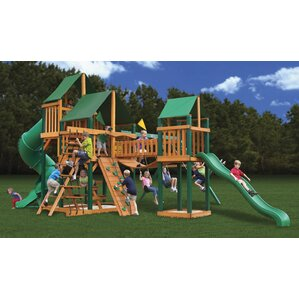 treasure trove with amber posts and canopy cedar swing set - Cedar Swing Sets