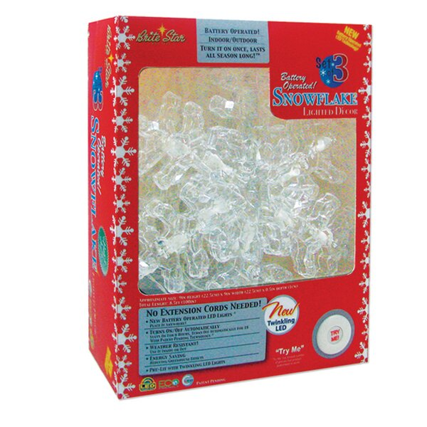 36 Light LED Snowflakes (Set of 3) by Brite Star
