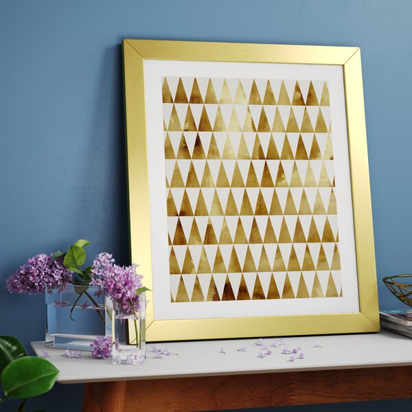 Triangle Pattern Gold Framed Graphic Art by East Urban Home