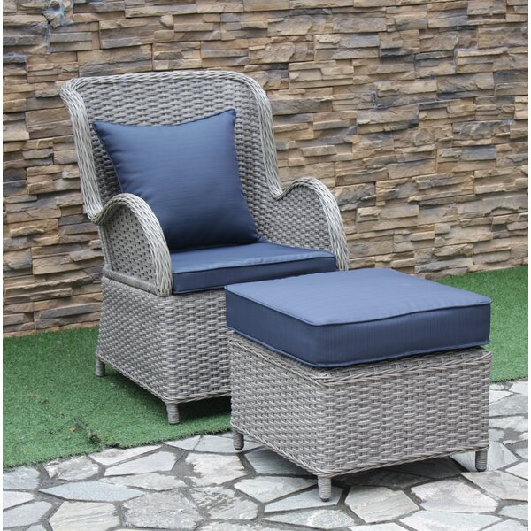 Silke Patio Chair With Cushion With Ottoman By One Allium Way by One Allium Way Great price