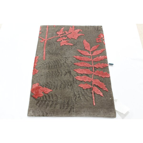 One-of-a-Kind Fredson Tibetan Hand-Knotted Brown/Pink Area Rug by Red Barrel Studio
