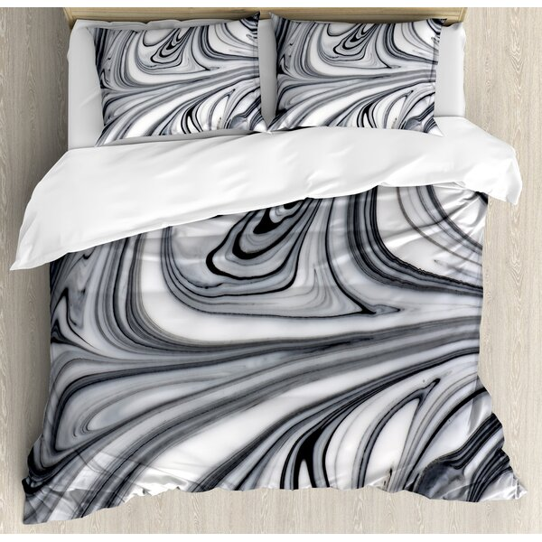 Apartment Mix of Hallucinatory Surreal Liquid Marble Figures Graphic Image Duvet Set by Ambesonne
