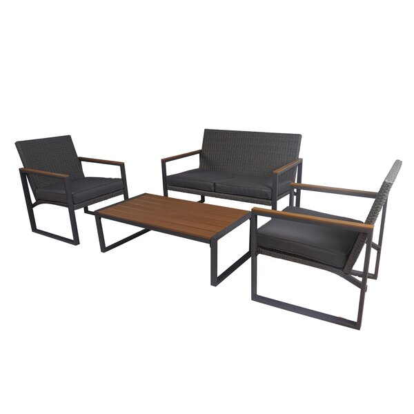 Altoria 4 Piece Rattan Complete Patio Set with Cushions by Latitude Run