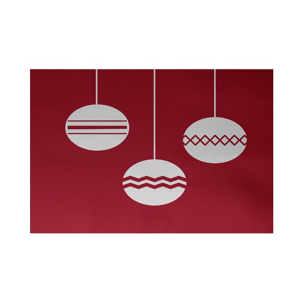 Geo-Bulbs Decorative Holiday Print Red Indoor/Outdoor Area Rug by The Holiday Aisle