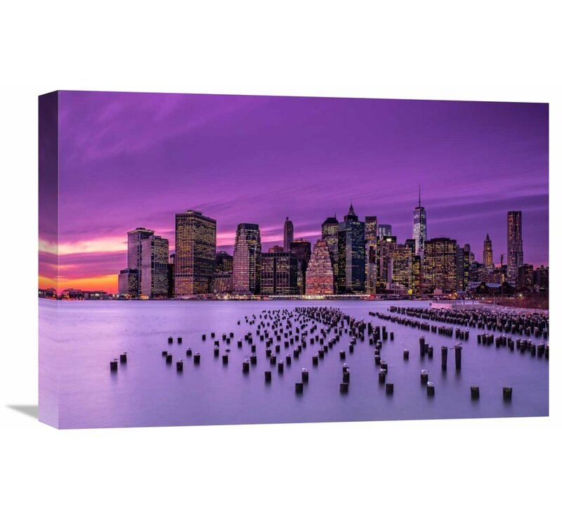 Global Gallery New York Violet Sunset By J G Damlow Photographic Print On Wrapped Canvas Wayfair