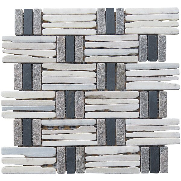 Landscape Wonder 12.5 x 12.5 Quartzite Basketweave Natural Stone Blend Mosaic Tile in Gray, White and Black by Intrend Tile