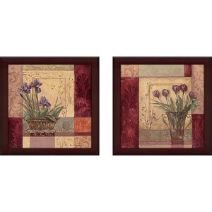 'Tulip Solitaire' 2 Piece Framed Acrylic Painting Print Set Under Glass by Andover Mills