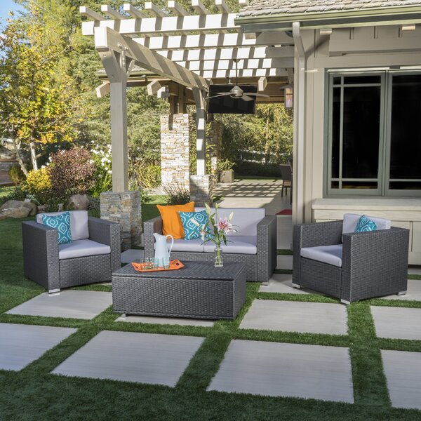 Ostro 4 Piece Rattan Sofa Seating Group with Cushions by Mercury Row