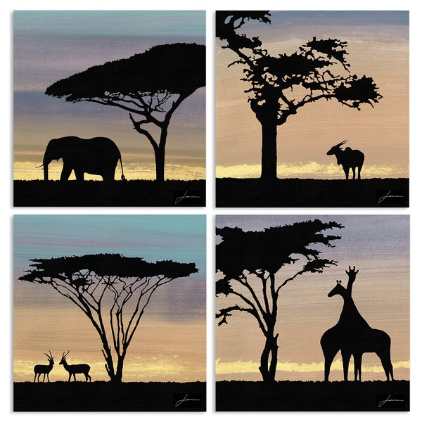 African Safari Sky with Animal Silhouettes 4 Piece Graphic Art Wall Plaque Set by Stupell Industries