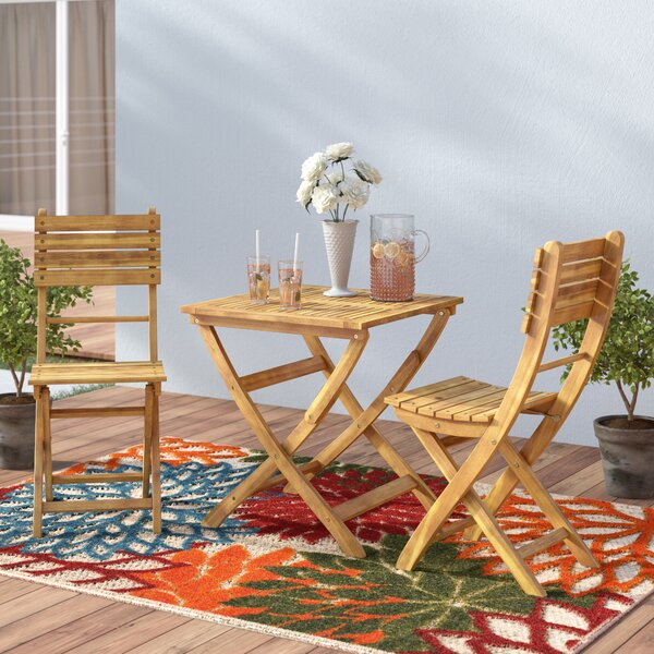 Charlemont Outdoor 3 Piece Foldable Wood Bistro Set by Andover Mills