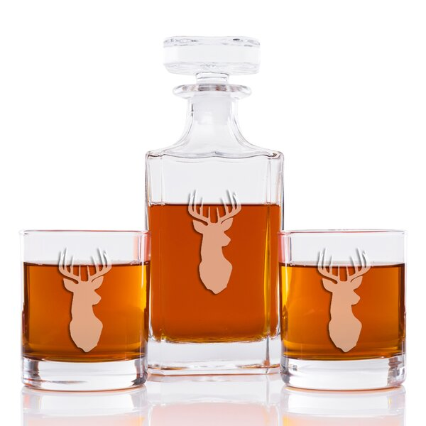 Faust Deer Classic Square 3 Piece Beverage Serving Set by Loon Peak