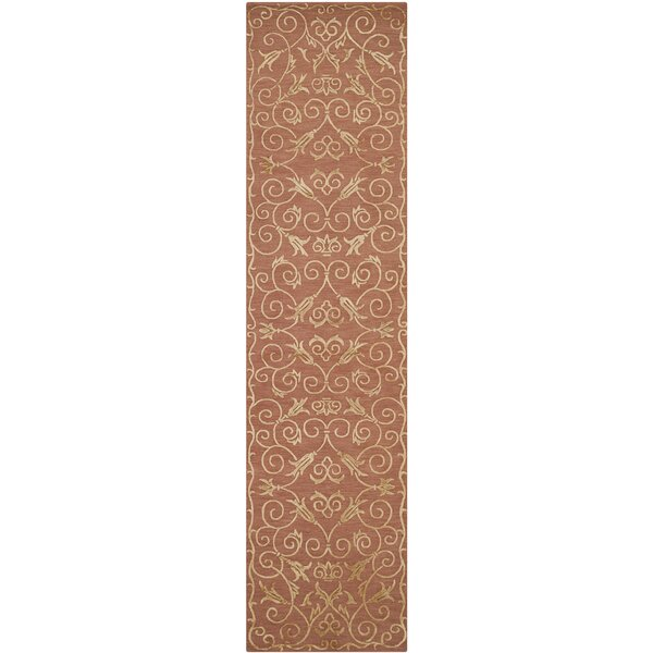 Kelsie Hand-Knotted Rust Area Rug by House of Hampton