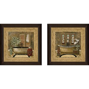 Asian Warmth' 2 Piece Framed Acrylic Painting Print Set Under Glass by World Menagerie