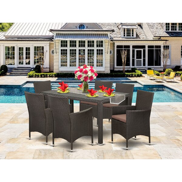 Toppenish Outdoor Backyard 7 Piece Dining Set with Cushions by Wrought Studio