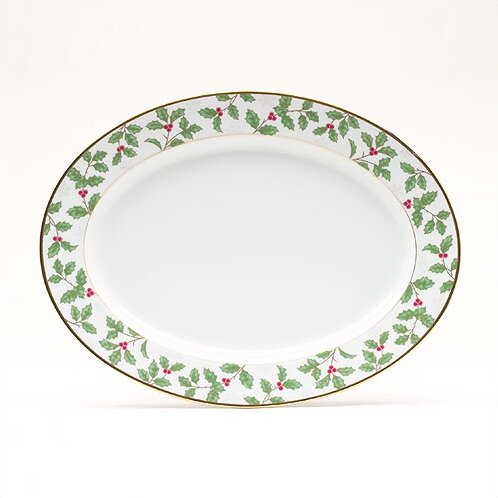 Holly and Berry Gold Oval Platter by Noritake