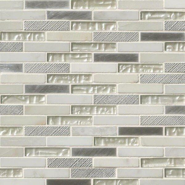 Ocean Crest Brick Pattern 0.62 x 3 Glass/Stone/Metal Mosaic Tile in White by MSI