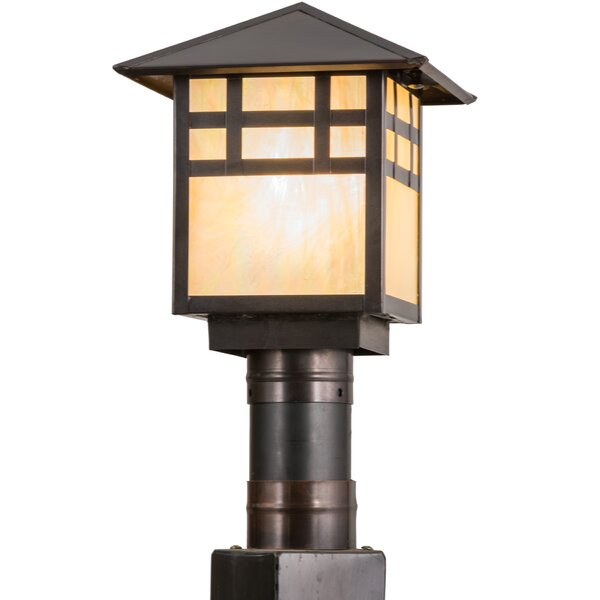 Greenbriar Oak Seneca Window Pane 1-Light Pier Mount Light by Meyda Tiffany