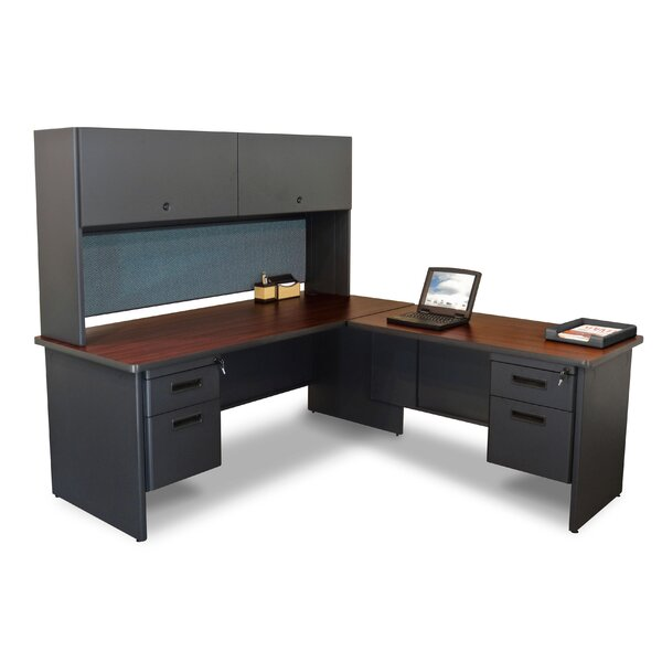 Pronto Return and Pedestal L-Shape Executive Desk with Hutch by Marvel Office Furniture