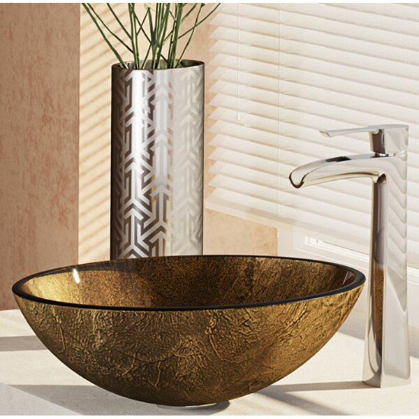 Regal and Earth Tones Glass Circular Vessel Bathroom Sink with Faucet by René By Elkay
