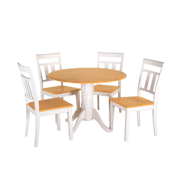 Adira 5 Piece Drop Leaf Solid Wood Dining Set by August Grove