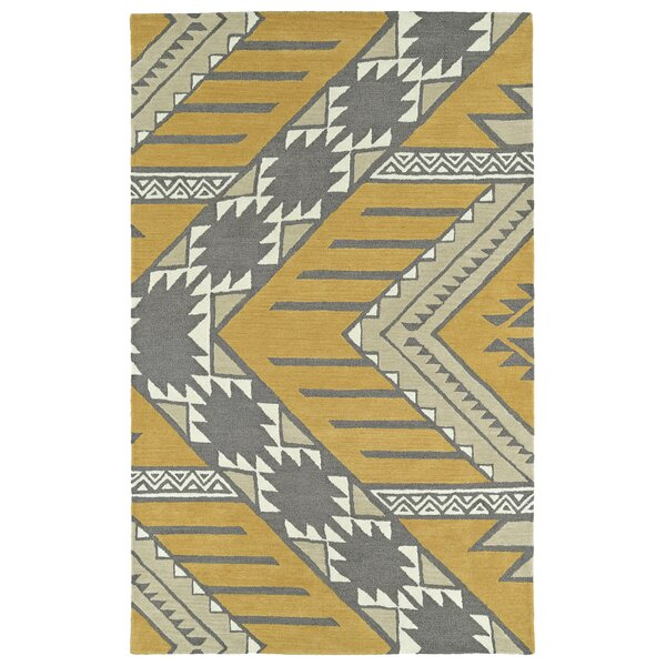 Hinton Charterhouse Hand-Tufted Dark Butterscotch/Khaki Area Rug by Wrought Studio