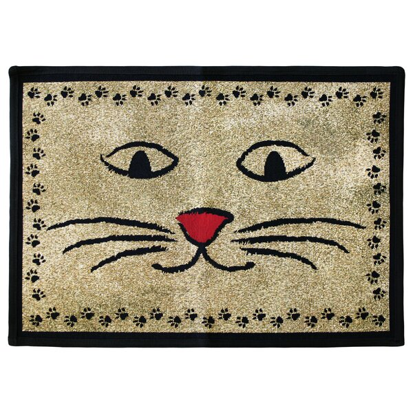 PB Paws & Co. Gold / Black Kitty Whiskers Tapestry Area Rug by Park B Smith Ltd