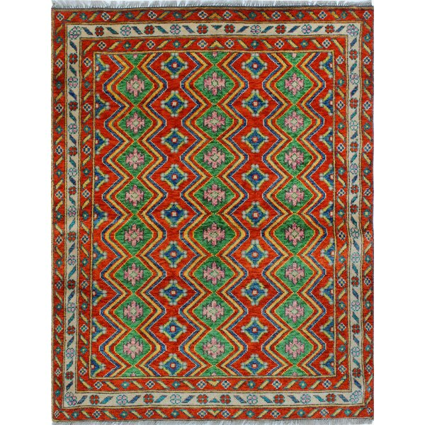 One-of-a-Kind Millender Ehioze Hand-Knotted Wool Red/Green Area Rug by Bloomsbury Market