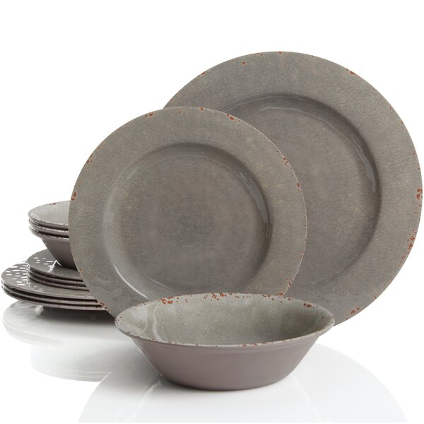 Cogswell Mauna Crackle 12 Piece Melamine Dinnerware Set, Service for 4 by Mint Pantry