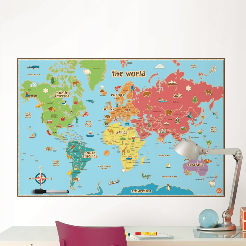 Viv rae lucas world map wall decal reviews wayfair lucas world map wall decal gumiabroncs Image collections