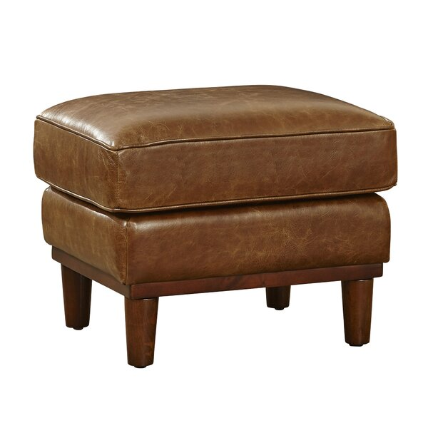 Knowles Leather Ottoman by Loon Peak