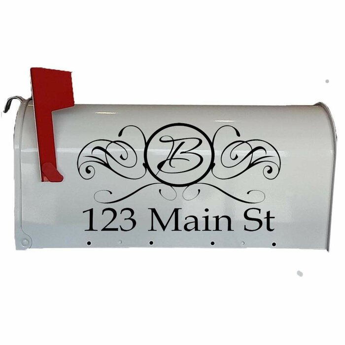 Mailbox Numbers Stickers Custom Address And Monogram Initial Personalized Wall Decal