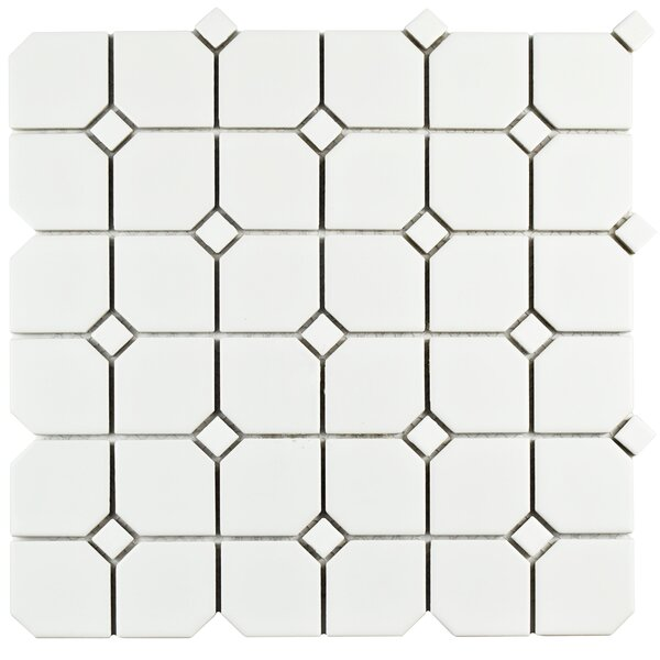 Retro Broadway 11.75 x 11.75 Porcelain Mosaic Tile in Matte White by EliteTile