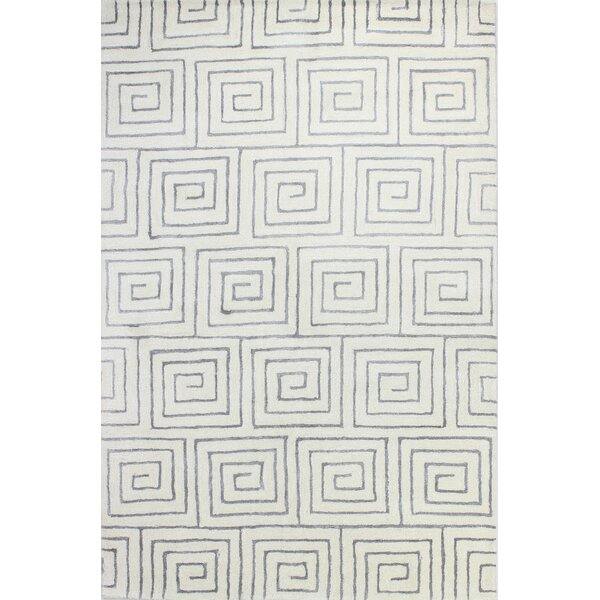 Donnie Hand-Tufted White/Grey Area Rug by Wade Logan