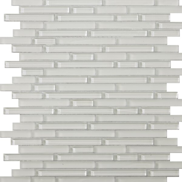 Lucente 12 x 13 Glass Linear Mosaic Tile in Blanc by Emser Tile