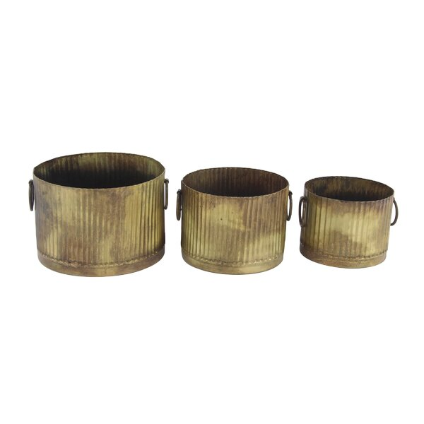 Kunze Industrial Corrugated 3-Piece Metal Pot Planter Set by Williston Forge