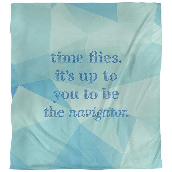 Quotes Faux Gemstone Time Flies Single Reversible Duvet Cover