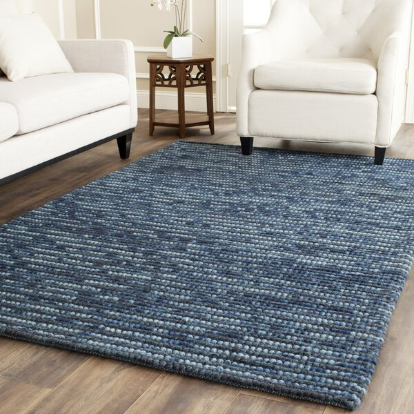 Makhi Hand-Knotted Dark Blue Area Rug by Mistana