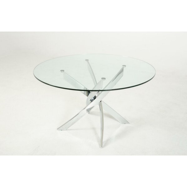 Clarita Round Glass Top Dining Table by Orren Ellis