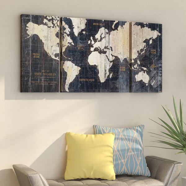Old World Map Blue 3 Piece Graphic Art Print Set On Wrapped Canvas By Mercury Row.