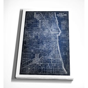 'Chicago Map Blue' Graphic Art Print on Wrapped Canvas by Wexford Home