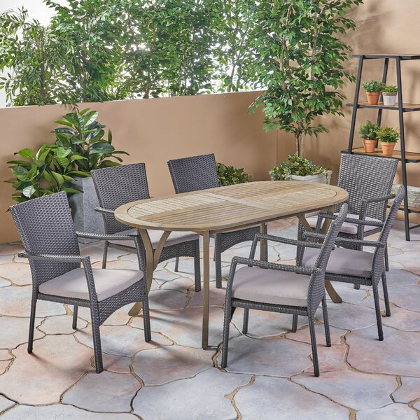 Peete Outdoor 7 Piece Dining Set with Cushions by Bungalow Rose