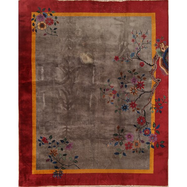 Bantom Art Deco Oriental Hand-Knotted Wool Red/Gray Area Rug by Bloomsbury Market