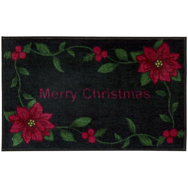 Merry Christmas Black Area Rug by The Holiday Aisle